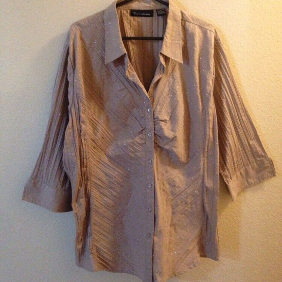 Club Z Collection Tops - Club Z Collection Beige Rhinestone Plus Size Top